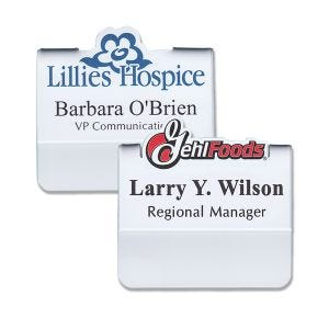 Full color pocket name tags with logos that pop up above the top of the tag, and names & titles on a white background.