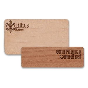 Wooden name tags with engraved logos on premium high-quality wood.