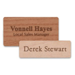 Wooden name tags with engraved text made from high quality premium wood.