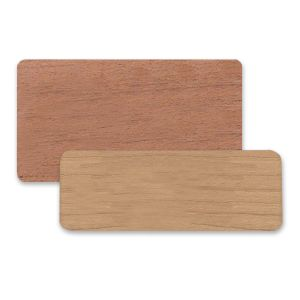 Premium wooden rectangle blank tags cut from factory sheets of wood.