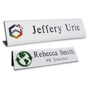 L-shaped name plates with full color logo and engraved text.