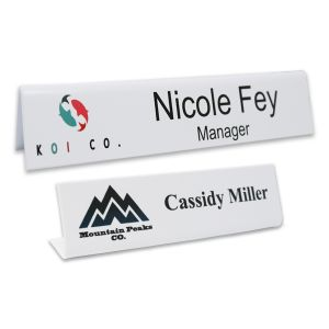 L-shaped name plate with full color printed logo and text.