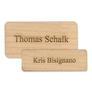 Standard Wooden Name Tags - Text Only