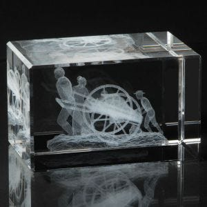Crystal cube laser engraved with mormon handcart pioneers