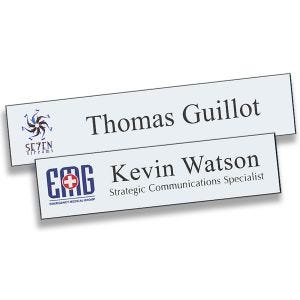 Full Color Printed Name Plates with logo and lines of text. White backgrounds with black text and full color logos.