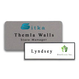 Full color printed name tags, silver background and white background, with a logo and 1 to 2 lines of text.