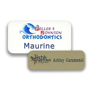 Standard Name Tags with Printed Logo & Engraved Text