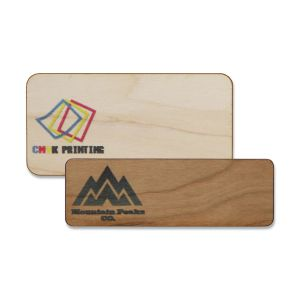 Full color wooden name tags with full color printed logos on fine-grain wood.