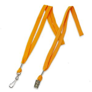 """Gold 1/2"""" polyester shoelace lanyard with swivel hook fastener and bulldog clip fastener."""