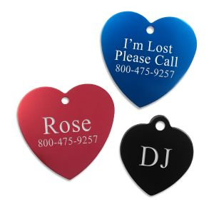 Heart shaped pet name tags available in 3 colors and 2 sizes, completely customizable with whatever text your furry friend needs.