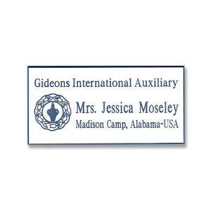 Full color tag with printed blue Gideons logo and names and titles.