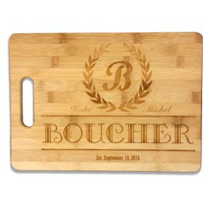 "Laser Engraved Bamboo Cutting Board W/Handle  13.75"" x 9.75"""