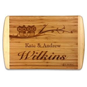 "Laser Engraved 2 Tone Bamboo Cutting Board 18"" x 12"""