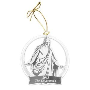 Personalized LDS Clear Acrylic Christus Statue Ornaments