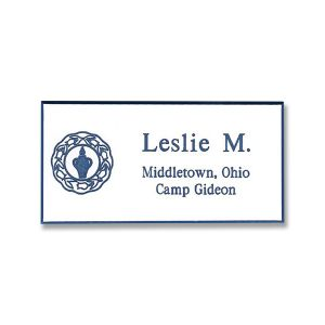 Full color printed tag with blue Gideons international logo and text.
