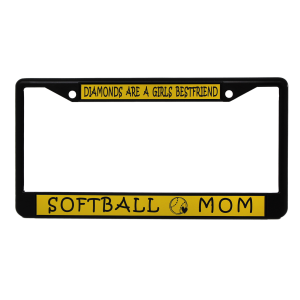 Softball Moms License Plate -  Diamonds Are A Girls Bestfriend
