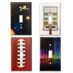 Solar system light switch cover, on and off lever light switch cover, football light switch cover, colored water show light switch cover.