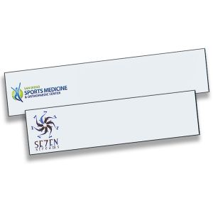 Full color printed name plates with company logos only. White backgrounds with full color logos.