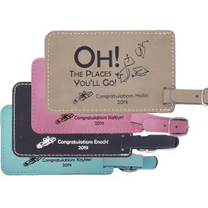 Personalized Leather Luggage Tags Comes In Brown - Pink - Turquoise - Black