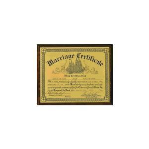 "8"" x 10"" walnut finish plaque with laser engraved gold plastic face plate & black engraving, featuring the certificate of your choice; marriage certificate, graduation certificate, etc."