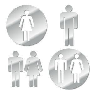 Mirror Acrylic Restroom Symbol Signs cut from high quality acrylic mirror, available in women's men's and unisex signs and 2 different designs.