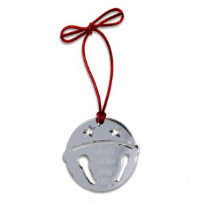 acrylic mirror sleigh bell ornament with customized engraved text phrase and red metallic cord fastener.