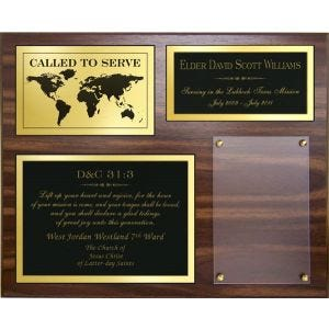 Missionary plaque with name, missiona nd scripture and place for photo