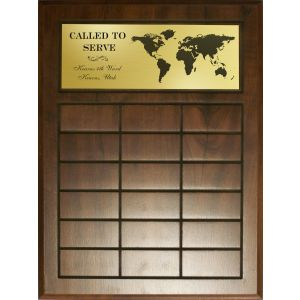 Missionary Perpetual Plaque with 12, 18, or 24 spaces & laser engraved gold header plate featuring ward & stake name & graphic of the world