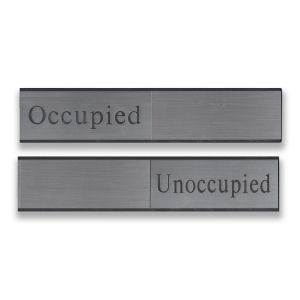 Engraved sliding wall sign with silver metal holder and silver plastic inserts. Includes blank slider piece.