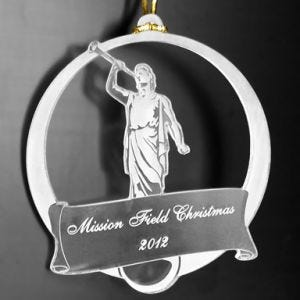 missionary missionfield christmas tree ornament with angel moroni & year, 100 percent acrylic plastic