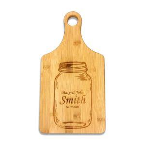 "Custom Engraved Bamboo Paddle Cutting Board 13 1/2"" x 7"""