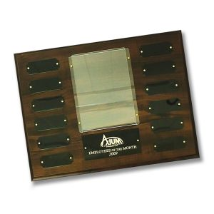 perpetual photo plaque with cherry finish, black metal inserts, and plastic frame for displaying photos