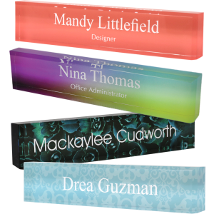 Personalized Acrylic Block Name Plate Printed Background with Text