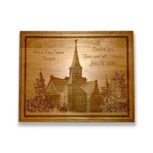 Laser engraved Provo City Center Temple plaque with customized text.