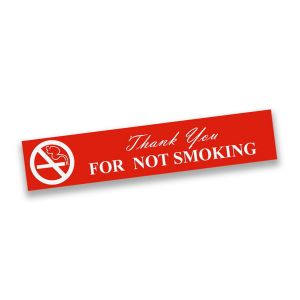Red plastic engraved smoking sign with text and smoking graphic.