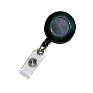 Black ID Badge Reel with snappable plastic strap