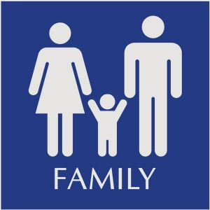 blue restroom sign with engraved family pictograms