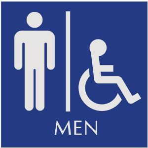 blue restroom sign with engraved men and wheelchair accessible pictograms