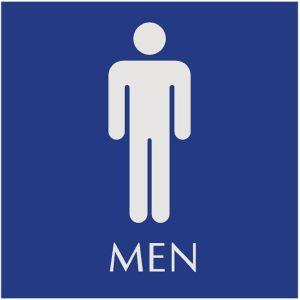 blue restroom sign with engraved men pictograms