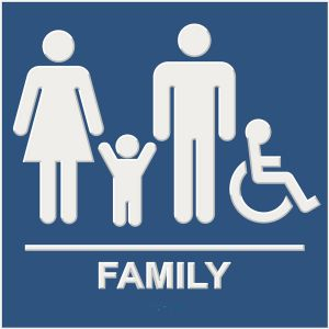 blue ada compliant restroom sign with braille and raised lettering, family, and wheelchair accessible pictograms