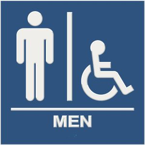 blue ada compliant restroom sign with braille and raised lettering, men, and wheelchair accessible pictograms