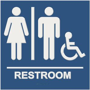 blue ada compliant restroom sign with braille and raised lettering, unisex, and wheelchair accessible pictograms