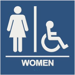 blue ada compliant restroom sign with braille and raised lettering, women, and wheelchair accessible pictograms