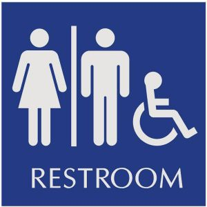 blue restroom sign with engraved unisex and wheelchair accessible pictograms