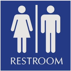 blue restroom sign with engraved unisex pictograms