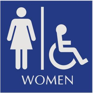 blue restroom sign with engraved women and wheelchair accessible pictograms