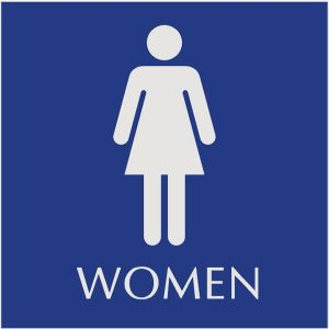 blue restroom sign with engraved women pictograms