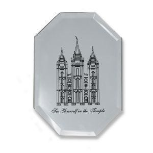 """Salt Lake City Temple engraved on mirror with quote """"See Yourself in the Temple""""."""