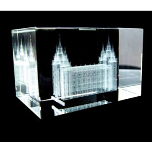 Crystal Cube with Laser Engraved Salt Lake Temple