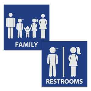Creative engraved square restroom signs with kids family and kids unisex